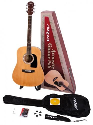 Aria Aria Acoustic Guitar Pack Natural