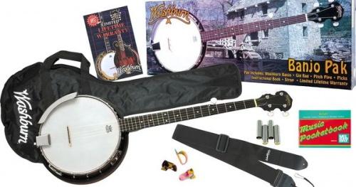 Washburn Banjo 5 corde Washburn B8K pack borsa,tracolla,corista,metodo e plettri