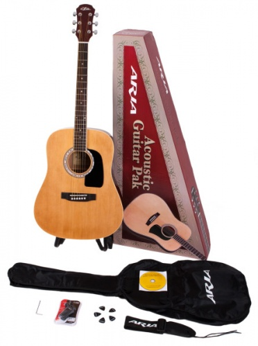 Aria Aria Acoustic Guitar Pack Natural