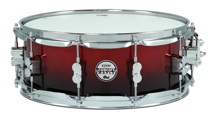 DW Drums PDP Concept Maple Red Black Sparkle Fade 6 pezzi